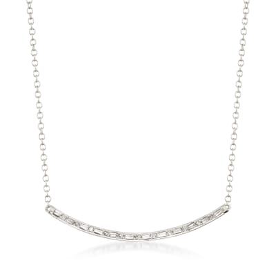 .18 Diamond Curved Bar Necklace in 14kt White Gold