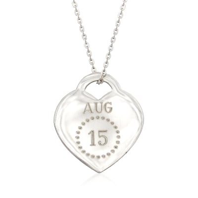 Sterling Silver Personalized Month and Day Heart Pendant Necklace