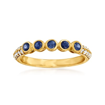 .30 ct. t.w. Sapphire Station Ring with .21 ct. t.w. Diamonds in 14kt Yellow Gold