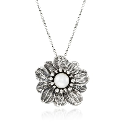 12mm Cultured Pearl Flower Pendant Necklace in Oxidized Sterling Silver