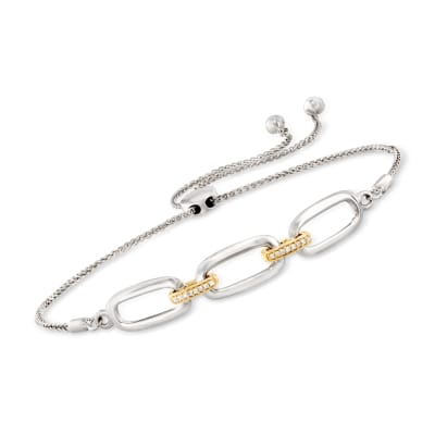 Sterling Silver and 14kt Yellow Gold Paper Clip Link Bolo Bracelet with Diamond Accents