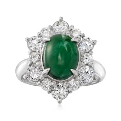C. 2000 Vintage Jade and 1.39 ct. t.w. Diamond Ring in Platinum