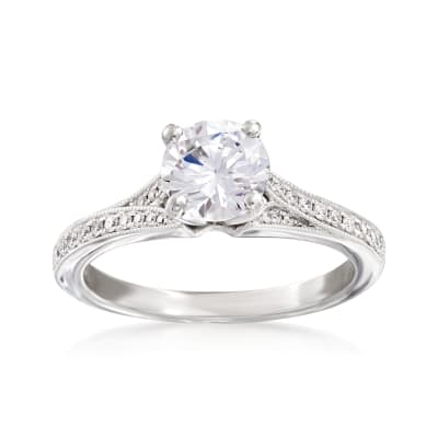 .13 ct. t.w. Diamond Engagement Ring Setting in 14kt White Gold