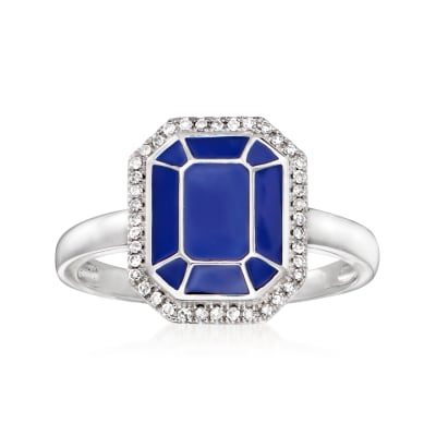.10 ct. t.w. Diamond and Blue Enamel Ring in Sterling Silver
