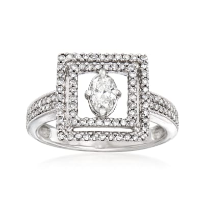 C. 1980 Vintage .80 ct. t.w. Diamond Open-Space Square Ring in 14kt White Gold