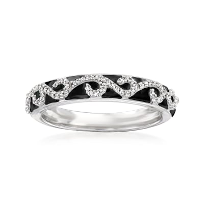 .15 ct. t.w. Diamond Swirl Ring with Black Enamel in Sterling Silver