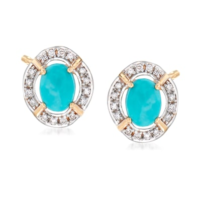 Stabilized Turquoise and .14 ct. t.w. Diamond Earrings in 14kt Yellow Gold