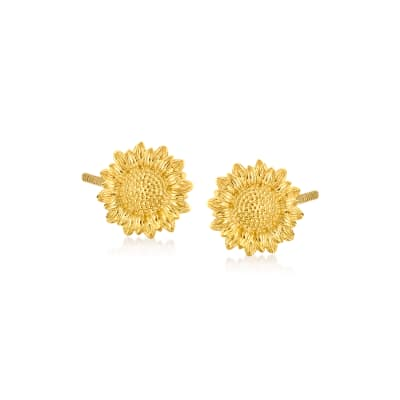 Child's 14kt Yellow Gold Sunflower Stud Earrings