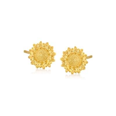 Child's 14kt Yellow Gold Sunflower Stud Earrings