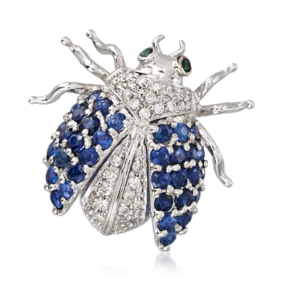 C. 1990 Vintage 1.70 ct. t.w. Sapphire and .35 ct. t.w. Diamond Bug Pin in 18kt White Gold