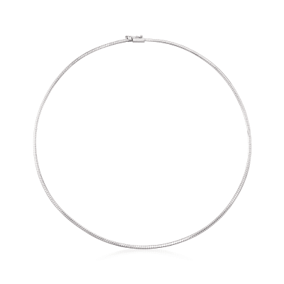 Italian 1.8mm 14kt White Gold Omega Necklace