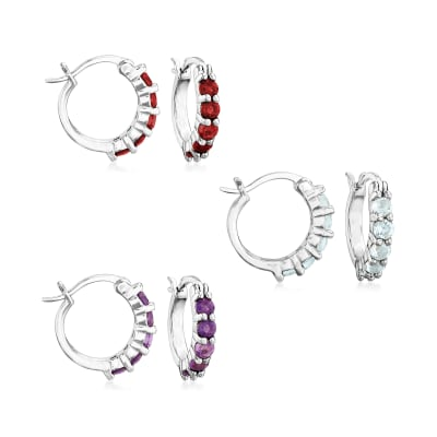 1.60 ct. t.w. Amethyst, Garnet and Blue Topaz Jewelry Set: Three Pairs of Huggie Hoop Earrings in Sterling Silver