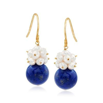 10mm Lapis and 3-4mm Cultured Pearl Cluster Drop Earrings in 14kt Yellow Gold