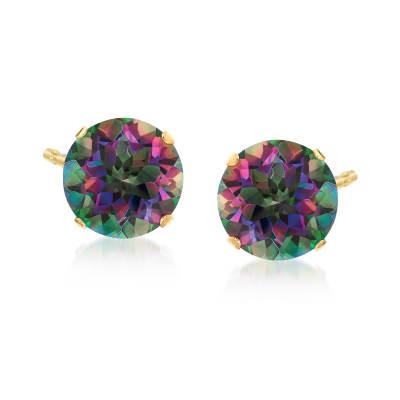 8.50 ct. t.w. Mystic Topaz Stud Earrings in 14kt Yellow Gold