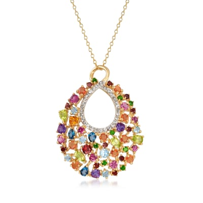 6.80 ct. t.w. Multicolored Multi-Gem Pendant Necklace in 18kt Gold Over Sterling