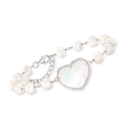 Mother-Of-Pearl Heart and 6-6.5mm Cultured Pearl Station Bracelet in Sterling Silver