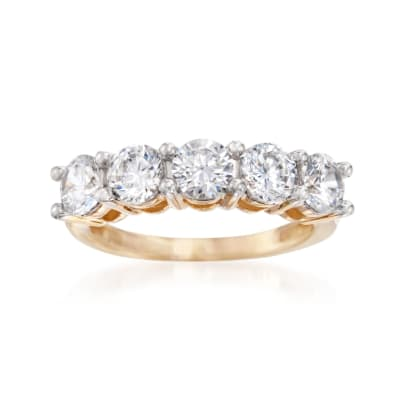 3.00 ct. t.w. CZ Five-Stone Ring in 14kt Yellow Gold