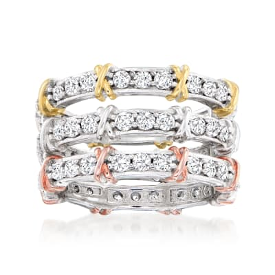 1.90 ct. t.w. CZ Jewelry Set: Three Eternity Bands in Sterling Silver with 18kt Gold Over Sterling