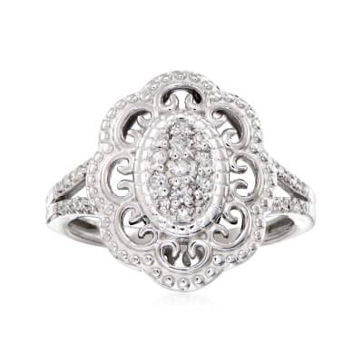.25 ct. t.w. Diamond Filigree Ring in Sterling Silver