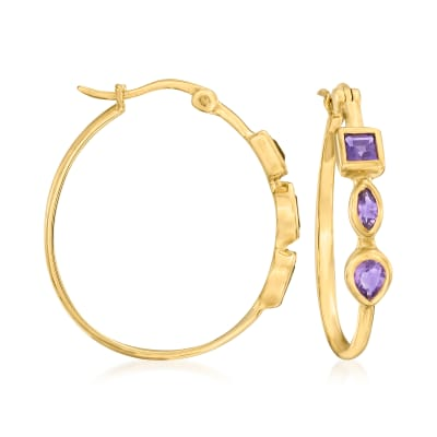 .70 ct. t.w. Amethyst Hoop Earrings in 18kt Gold Over Sterling