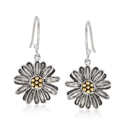 Sterling Silver with 14kt Yellow Gold Flower Drop Earrings