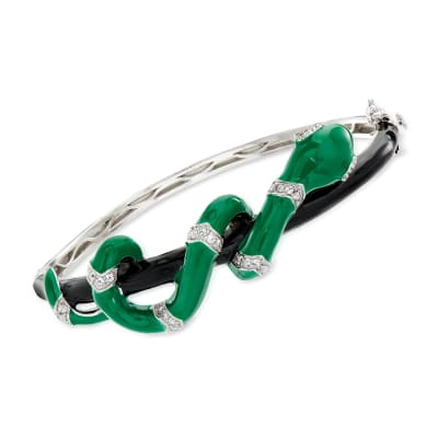 .80 ct. t.w. White Topaz and Green and Black Enamel Snake Bangle Bracelet
