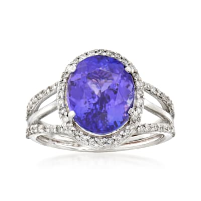 5.03 Carat Tanzanite and .37 ct. t.w. Diamond Ring in 14kt White Gold