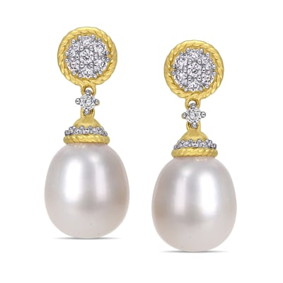 9mm Cultured Pearl and .32 ct. t.w. Diamond Drop Earrings in 14kt Yellow Gold