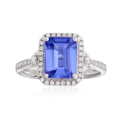 2.30 Carat Tanzanite and .30 ct. t.w. Diamond Ring in 14kt White Gold