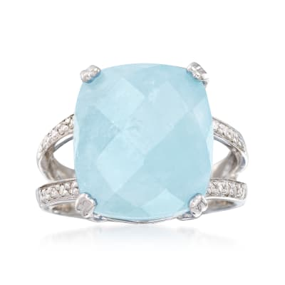 9.75 Carat Milky Aquamarine and .10 ct. t.w. Diamond Ring in Sterling Silver
