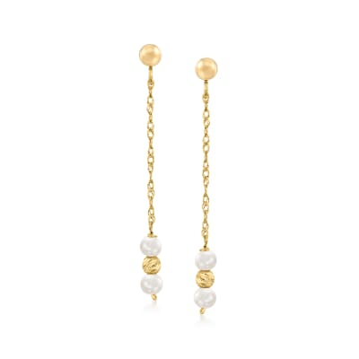3-3.5mm Cultured Pearl Drop Earrings in 14kt Yellow Gold