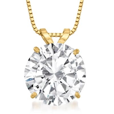 3.00 Carat CZ Solitaire Necklace in 14kt Yellow Gold