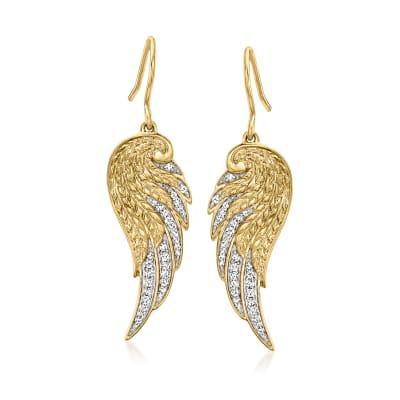 .25 ct. t.w. Diamond Angel Wing Drop Earrings in 18kt Gold Over Sterling