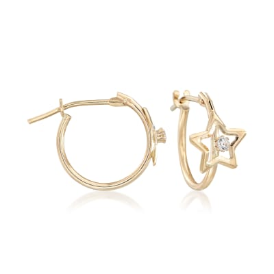 Child's 14kt Yellow Gold Open-Space Star Hoop Earrings with CZ Accents