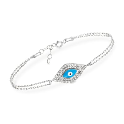 .50 ct. t.w. CZ and Enamel Evil Eye Bracelet in Sterling Silver