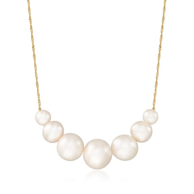 6-12mm Cultured Pearl Graduated Necklace in 14kt Yellow Gold