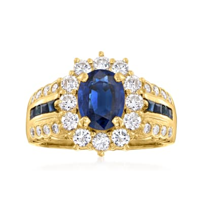 C. 1980 Vintage 2.04 Carat Sapphire Ring with 1.04 ct. t.w. Diamond Ring in 18kt Yellow Gold
