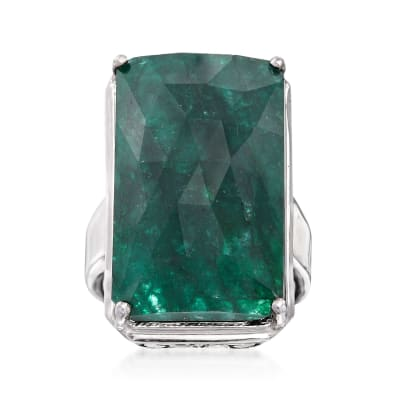 20.00 Carat Green Beryl Ring in Sterling Silver