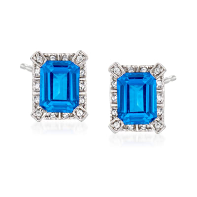 3.40 ct. t.w. Blue and White Swarovski Topaz Earrings in Sterling Silver