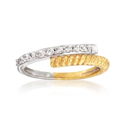 .25 ct. t.w. Diamond Bypass Ring in Sterling Silver and 18kt Gold Over Sterling