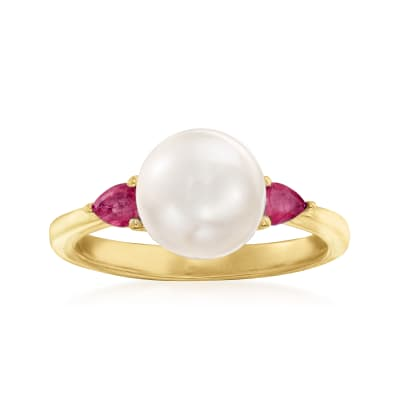 8mm Cultured Pearl and .30 ct. t.w. Ruby Ring in 18kt Gold Over Sterling