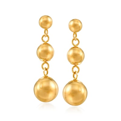 14kt Yellow Gold Bead Drop Earrings