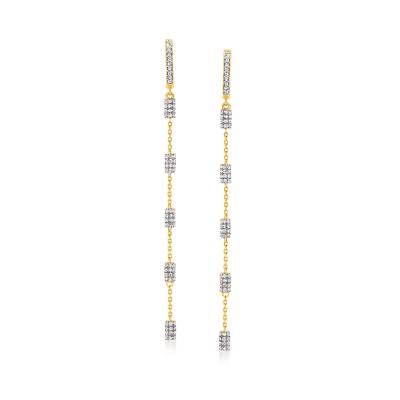 .63 ct. t.w. Diamond Rectangular Station Hoop Drop Earrings in 18kt Gold Over Sterling