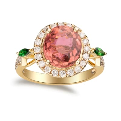 3.50 Carat Pink Tourmaline and .46 ct. t.w. Diamond Ring with .10 ct. t.w. Green Tsavorite in 14kt Yellow Gold