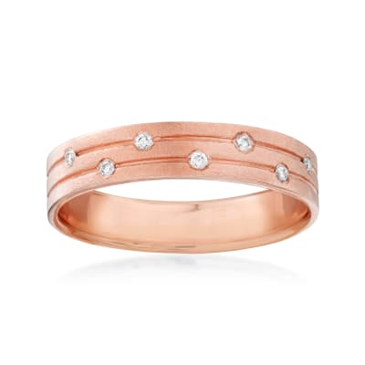 14kt Rose Gold Ring with Diamond Accents