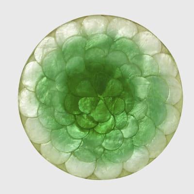 "Joanna Buchanan ""Capiz"" Set of 4 Green and White Coasters"