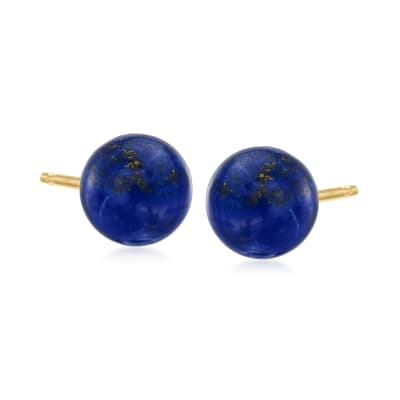 Lapis Stud Earrings in 14kt Yellow Gold