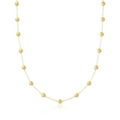 14kt Yellow Gold Bead Station Necklace