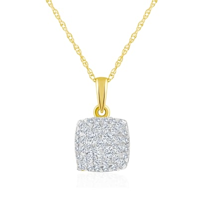 .22 ct. t.w. Diamond Square Cluster Pendant Necklace in 14kt Yellow Gold