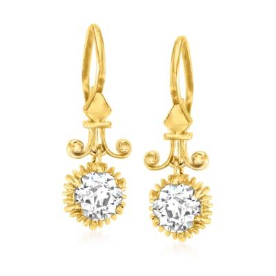 C. 1980 Vintage 1.20 ct. t.w. Diamond Drop Earrings in 18kt Yellow Gold